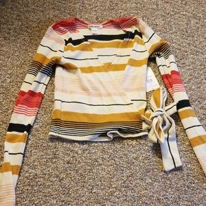 Striped Wrap top XS NWT